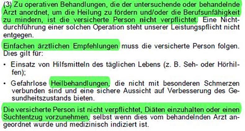 Arztanordnungsklausel-Nürnberger-Berufsunfähigkeitsversicherung