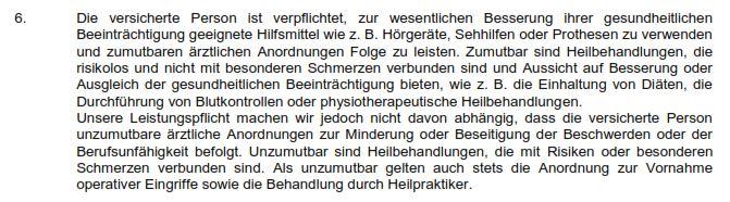 Mitwirkungspflichten Arztanordnung Condor Berufsunfähigkeitsversicherung