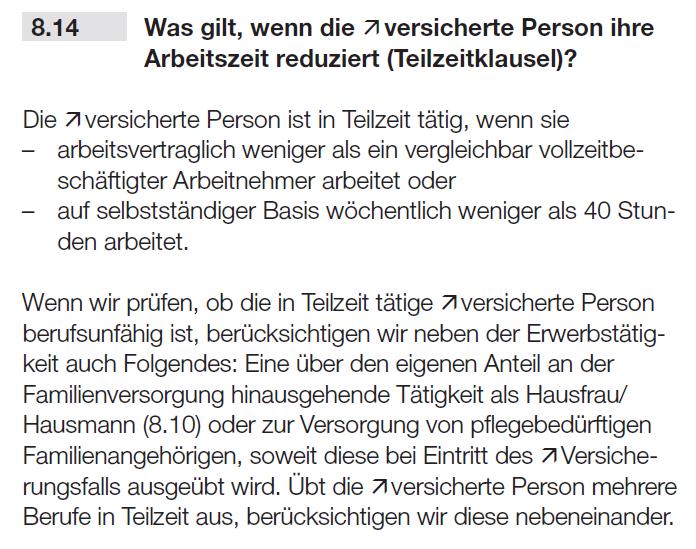 Teilzeitklausel Berufsunfähigkeitsversicherung Basler 04.2021