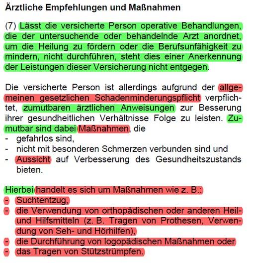 Berufsunfähigkeitsversicherung Volkswohl Bund Arztanordnungsklausel