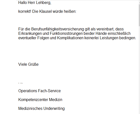 Leistungsausschluss Hände Berufsunfähigkeitsversicherung Nürnberger