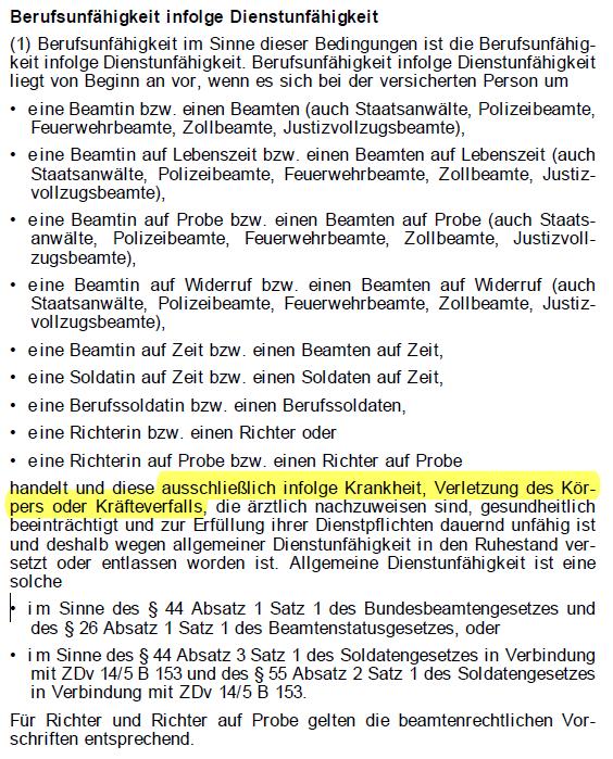 Dienstunfähigkeitsklausel der Nürnberger 01.2020