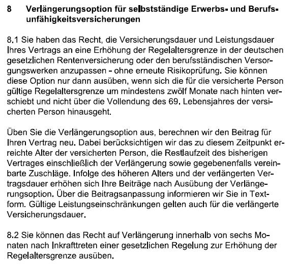 Verlängerungsoption AXA Berufsunfähigkeitsversicherung 04.2021