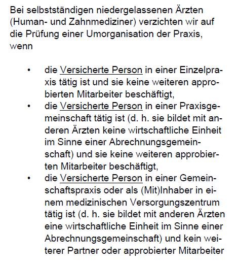 Verzicht auf Umorganisation bei Ärzten Swiss Life Berufsunfähigkeitsversicherung