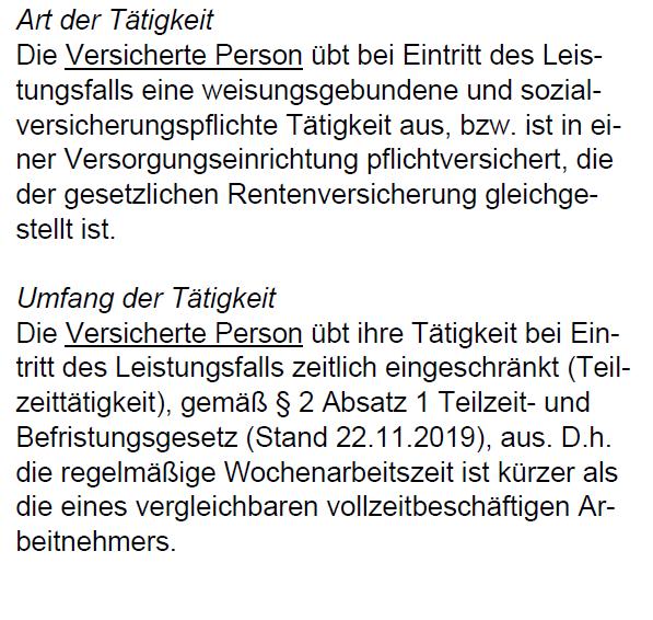 Teilzeitklausel Berufsunfähigkeitsversicherung Swiss Life 1/2