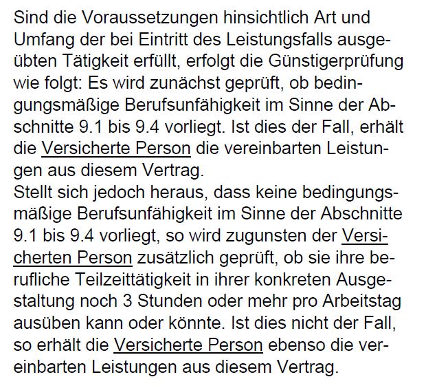 Teilzeitklausel Berufsunfähigkeitsversicherung Swiss Life 2/2